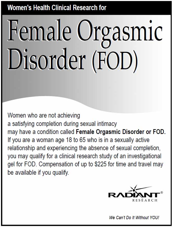 female orgasmic The DSM IV-TR defines  both female and male orgasmic disorder as a persistent delay or absence of.