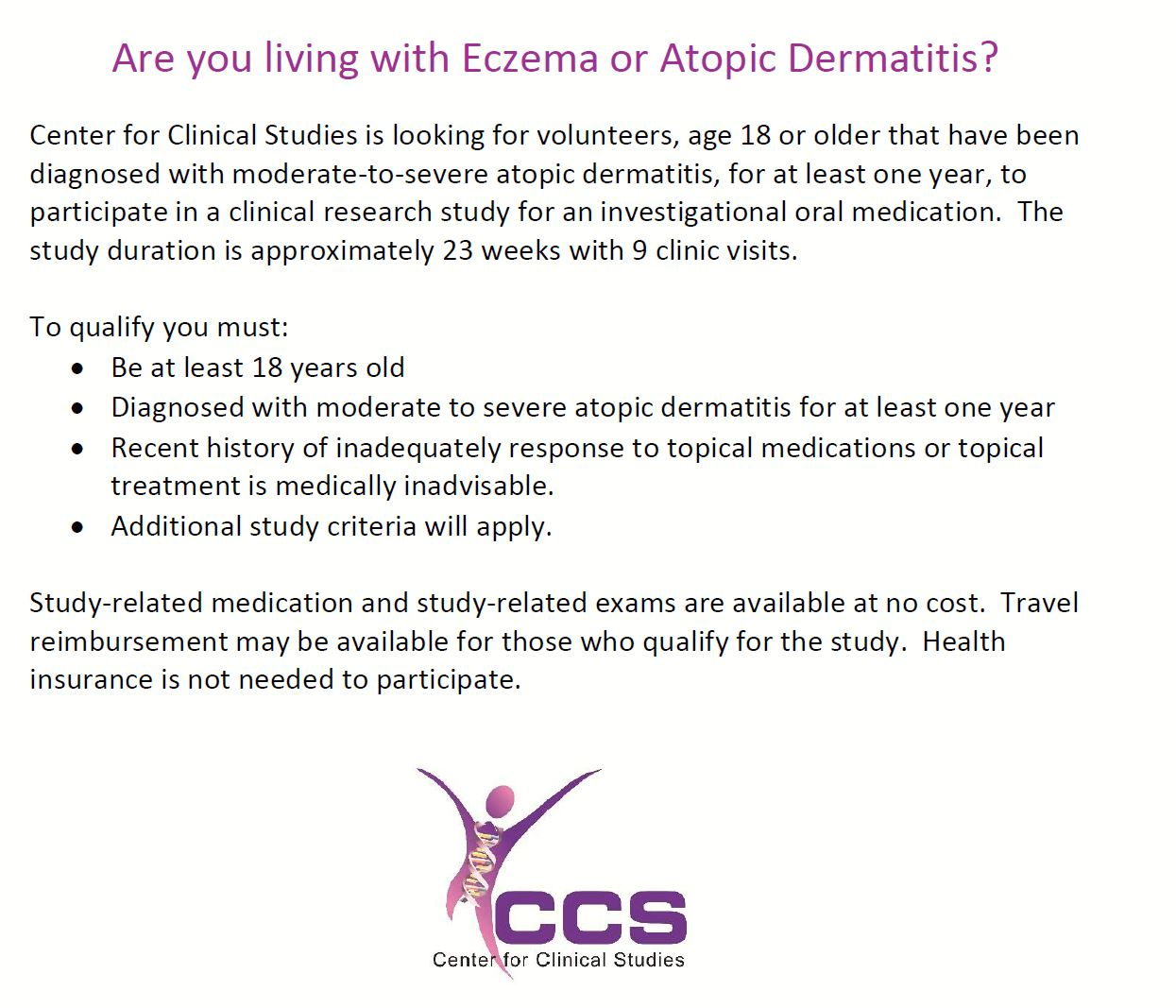 Eczema (Atopic Dermatitis) - Houston TX (Clinical Trial # 41072)